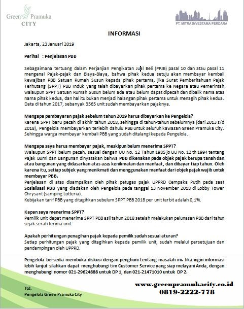 Penjelasan PBB Green Pramuka City 1