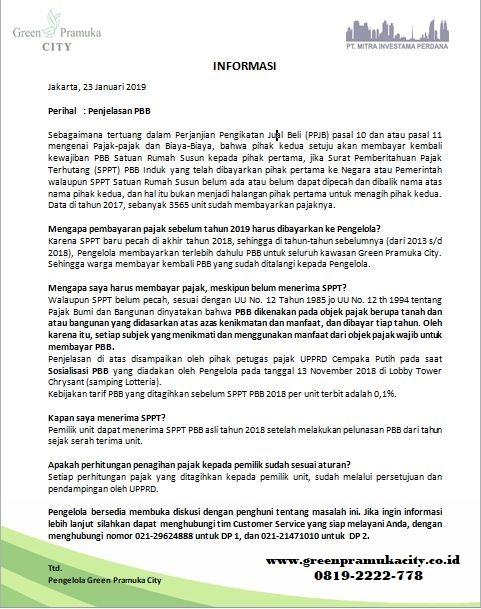 Penjelasan PBB Green Pramuka City 2
